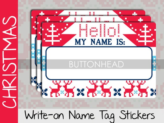 Christmas Name Tags: Ugly Christmas Sweater Party Decorations Decor Adult