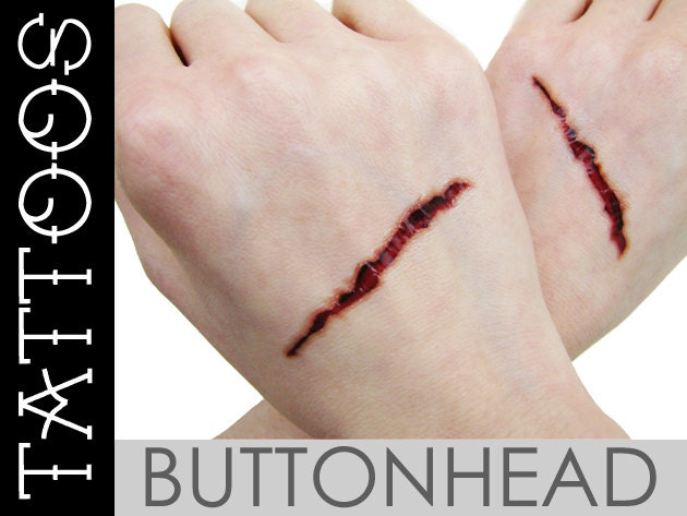 Slit gash fake wound temporary tattoos halloween costume for Fake wound tattoos