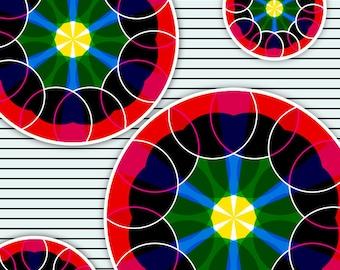 Wrapping Paper -- CMYK Kaleidoscope Balls