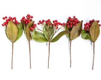 Wired Berry Cluster Stem in Red - Floral Crown Supplies - Artificial Berries - ITEM 0479