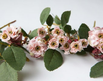 Primroses - 23 Artificial Pompon Roses in Dusty Pink - Silk Flowers, Artificial Flowers - ITEM 051