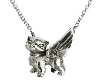 Cat Necklace     wings pendant winged silver gold flying kitty kitten jewelry