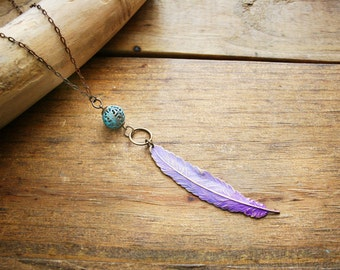 Dusty Purple Patina'd Feather Necklace