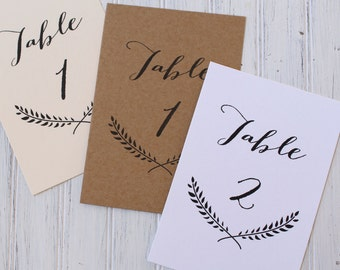 Wedding Table Numbers, Calligraphy Table Number Cards, Laurel Wreath Numbers, Wedding Table Decor, Day Of Decor