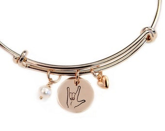 I Love You ASL Gold Adjustable Bangle, Expandable Bangle, Gold, Sign Language, Bracelet