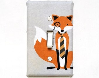 Fabric Light Switch Plate Cover, wall decor - grey with fancy fox wearing striped tie and eyepiece