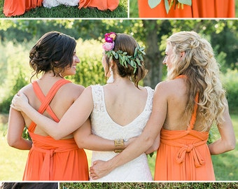 Featured on Wedding Chicks! Mismatched Infinity Convertible Dresses for OffBeat Boho Rustic Glam Wedding Hundreds of Colors! Made to measure