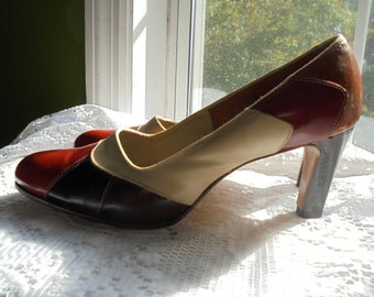 70s leather  shoes vintage brown orange patchwork leather pumps heels disco 6.5 7  from vintage opulence on Etsy