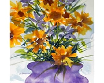 Whimsical Painting Yellow Flowers, Watercolor Bouquet, Yellow and Purple Art Floral, Cottage Décor
