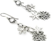 Snowflake Earrings, Winter Earrings, Crystal Earrings, Winter Jewelry, Snowflake Jewelry, Drop Earrings, Dangle Earrings