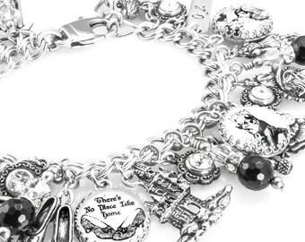Wizard of OZ Silver Charm Bracelet, Oz Charm Jewelry, Oz Bracelet