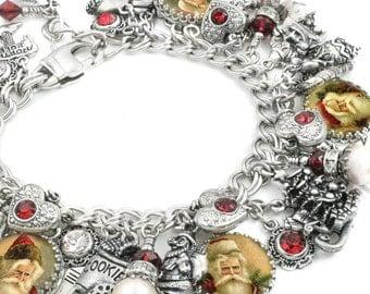 Santa Bracelet, Santa Claus Jewelry, Holiday Charm Bracelet, Holiday Jewelry, Christmas Pearl Bracelet, Heart Charm Bracelet