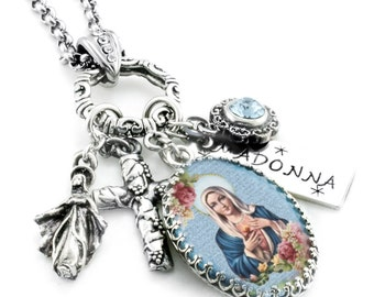 Religious Jewelry, Religious Pendant, Catholic Jewelry, Madonna Pendant, Madonna and Child, Virgin Mary Jewelry, Baby Jesus and Mary