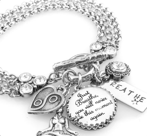 Inspirational Bracelet, Silver Inspirational Jewelry, Stainless Steel Bracelet, Just Breathe