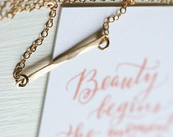 Hammered 14k Gold Filled thin BAR Necklace/Card Gift Set