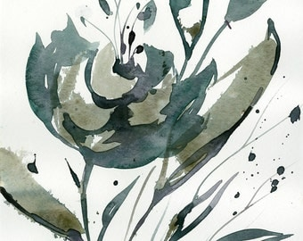 """Abstract Flower Watercolor Painting, olive, green floral art, plant, nature, blooms, """"Organic Impressions 116"""" Kathy Morton Stanion EBSQ"""