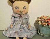 girl art doll, sandy mastroni , original doll, blue,sweet weird doll, whimsical doll art