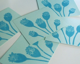 Turquoise Poppy Pods set of 5 Flat  Linocut Note Cards