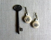 Mr and Mrs Key Chain Charms, Set of Two His and Hers Calligraphy Key Chain, Zipper Pull Charm (05)