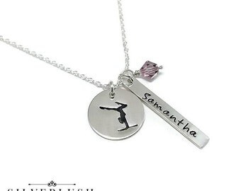 Gymnastics Necklace - Custom Sterling Silver Gymnasts Jewelry with Birthstone - Personalized for you