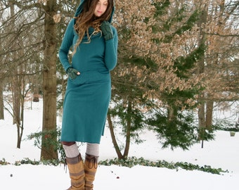 ORGANIC Super Cowl Darjeeling Below Knee Dress (hemp/organic cotton fleece) - organic dress
