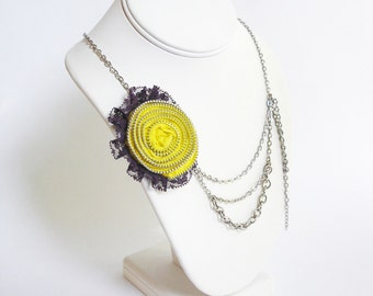 Yellow Zipper Rosette with Purple Lace Silver Chain Necklace