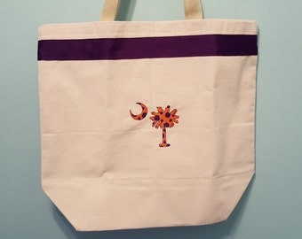 Clemson Tote Bag, Clemson University, Bags & Purses, Totes, South Carolina Flag, Palmetto Tree and Moon, Canvas Tote, Accessories, Purses
