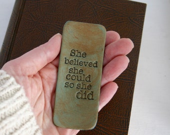 Leather Bookmark - She Believed She Could So She Did - Inspirational 3rd Anniversary Gift for Wife - Third Anniversary