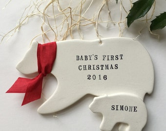 Baby's First Christmas Ornament- Polar Bear and Cub with your custom name and year white and red by Paloma's Nest