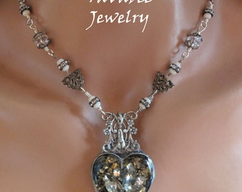 Hand Made, Rustic Soldered Bezel and resin,  Vintage jewelry Heart rhinestone necklace OOAK