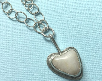 White Heart Beach Stone Necklace Sterling Silver Pearl