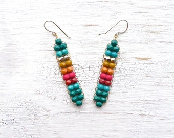 Tribal Earrings // Seed Bead Jewelry // Turquoise Earrings // Woven Jewelry // Festival Earrings // Statement Earrings // Made in Montana
