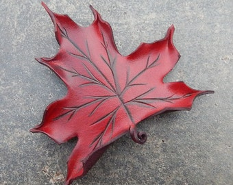 Leather Leaf Hair Barrette Red Maple in Shades of Scarlet and Burgundy - Autumn Leaf