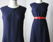 60s Dress Navy Blue Linen Dress 1960s Shift Dress