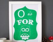O is for Owl alphabet print