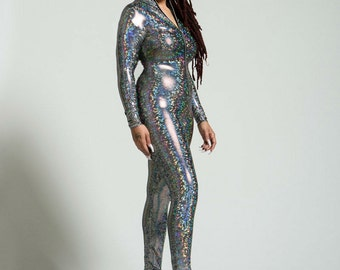 Plus Size Unisex Hooded Silver Holographic Bodysuit - FREE SHIPPING in the US