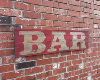 Large Bar Sign, Party Sign, Large Business Signs, Old Wood Saloon Sign, Rustic Bar Wood Signs. Restaurant sign, Recycled wood sign.