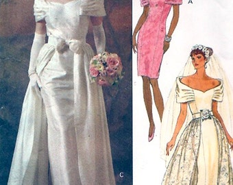 Elegant wedding dress overskirt gown bridesmaid Wedding party sewing pattern Butterick 5897 Uncut Sz 6 to 10