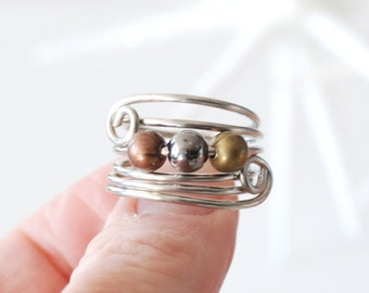 Mixed Metal Ring, Spiral Ring, Funky Wire Ring, Beaded Ring, Silver Metal Ring, Copper Ring, Coil Ring, Wirework Ring - Wild Child