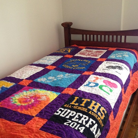 T- shirt Quilt pattern, a twin bed size pattern, a pdf download quilt pattern, memory quilt for ...