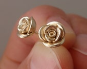 LAST PAIR until 2017 | Solid 14K Gold Roses | Sample Sale | Individually Handsculpted, Cast Earstuds in 14K Yellow Gold