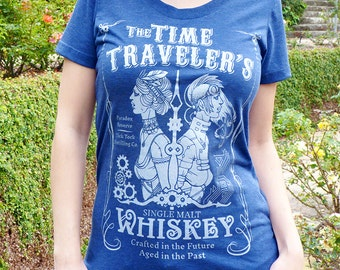 Whiskey Women's T-shirt, Steampunk Shirt - Time Travel Tshirt, Print Graphic Tee - Time Traveler's Whiskey Tshirt - Speculative Spirits