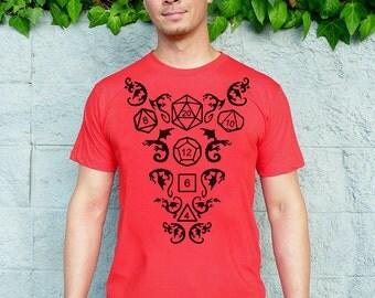 Dice Tshirt - Gaming Shirt - D20 Dice - DnD - Dice and Dragons Shirt - Gamer Gifts - Tabletop Games - Geek Gift - High Roller Men's T-shirt
