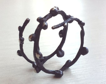 Berry Twig Ring - Oxidized - Sterling Silver - Organic - Adjustable - Branch - Black Twig Ring -Twig Ring - Made in Brooklyn -Gifts Under 35