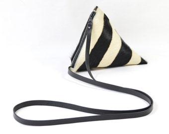 Celeste - Handmade Zebra Print Hair On Hide Leather Shoulder Bag Purse SS17