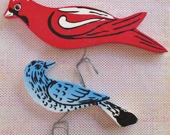 Pair of Vintage Folk Art Garden Birds