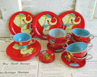 Vintage Ohio Art Circus 25 Piece Tin Tea Set