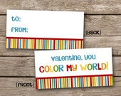 INSTANT DOWNLOAD - Valentine Treat Bag Topper - You Color My World - Rainbow - Crayons - Printable Digital File - Design 32