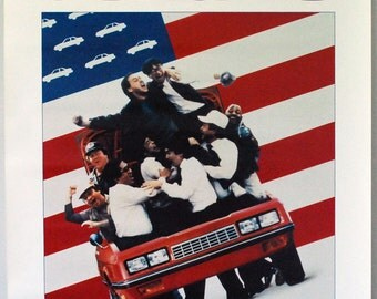 Gung Ho Poster, 1980s Movie Poster, Original Vintage Lobby Poster, Wall Hanging, Michael Keaton, Ron Howard, Red White Blue, Patriotic Decor