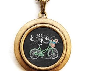 Chalkboard Art Locket - Enjoy The Ride - Inspirational Art Locket Necklace